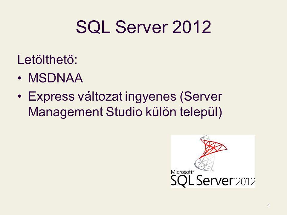 SQL Server 2012 Letölthető: MSDNAA