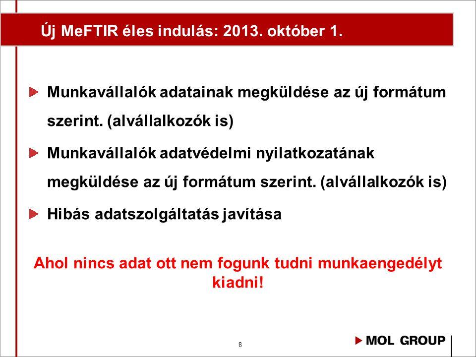 Új MeFTIR éles indulás: 2013. október 1.