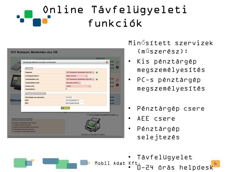 Online Távfelügyeleti funkciók