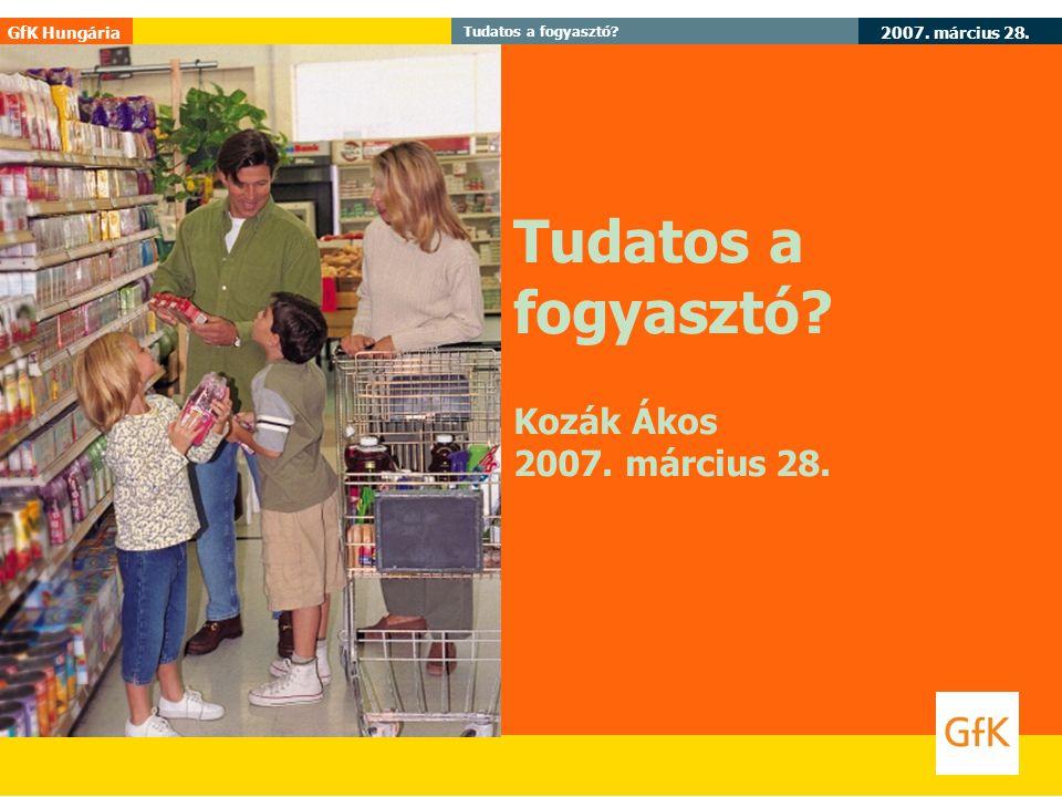 Tudatos a fogyasztó Kozák Ákos 2007. március 28.
