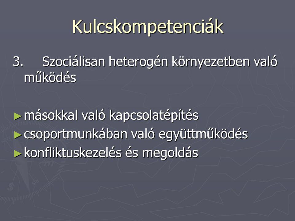 Kulcskompetenciák 3. Szociálisan heterogén környezetben való működés
