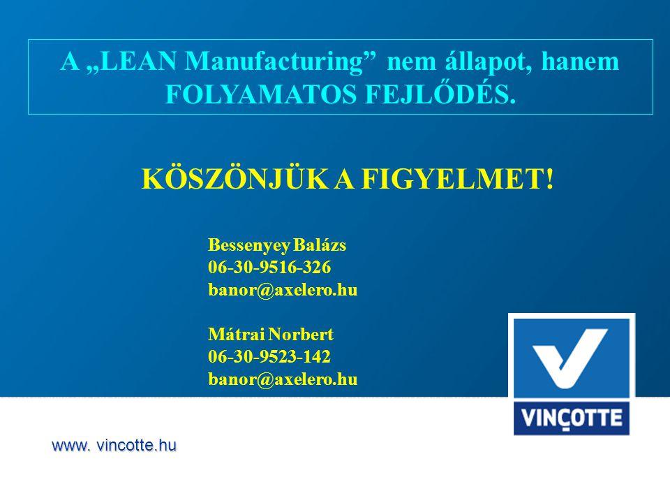 """A """"LEAN Manufacturing nem állapot, hanem"""