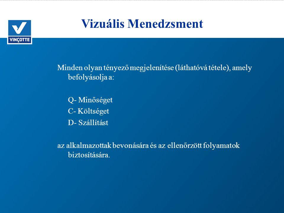 Vizuális Menedzsment Minden olyan tényező megjelenítése (láthatóvá tétele), amely befolyásolja a: Q- Minőséget.