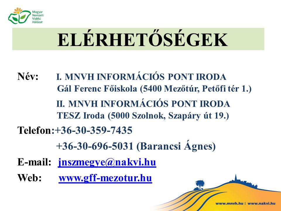 ELÉRHETŐSÉGEK Név: I. MNVH INFORMÁCIÓS PONT IRODA Gál Ferenc Főiskola (5400 Mezőtúr, Petőfi tér 1.)