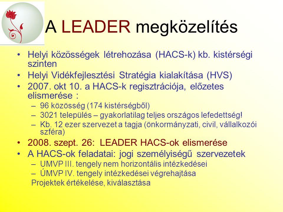 A LEADER megközelítés Helyi közösségek létrehozása (HACS-k) kb. kistérségi szinten. Helyi Vidékfejlesztési Stratégia kialakítása (HVS)