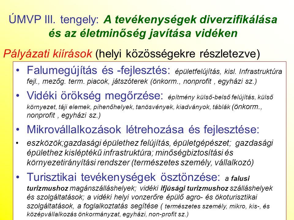 Pályázati kiírások (helyi közösségekre részletezve)