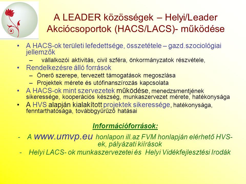 Helyi LACS- ok munkaszervezetei és Helyi Vidékfejlesztési Irodák