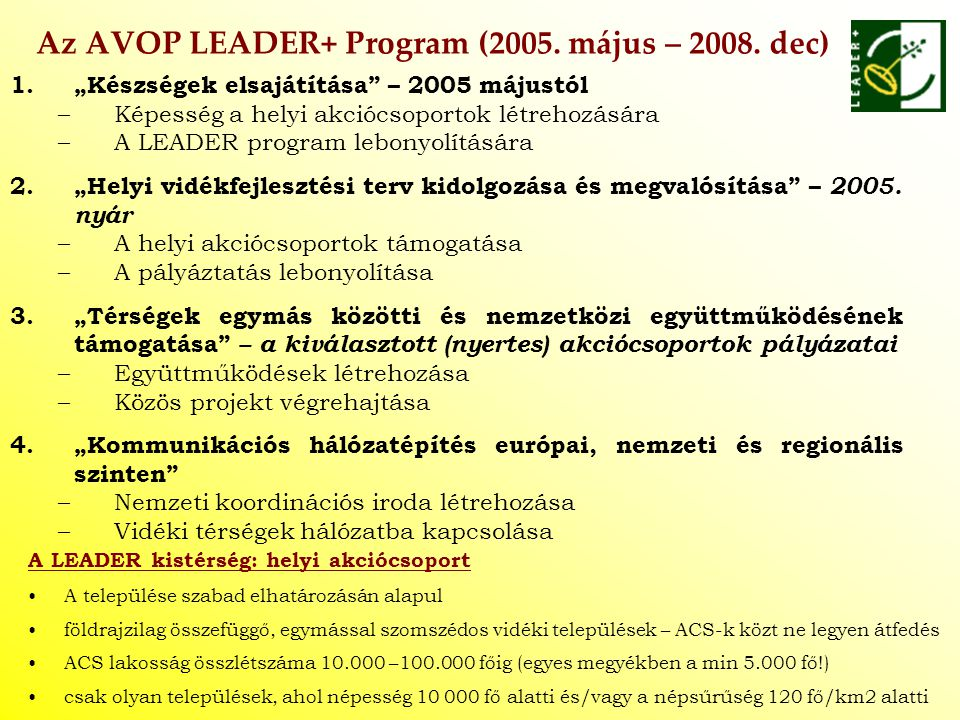 Az AVOP LEADER+ Program (2005. május – 2008. dec)
