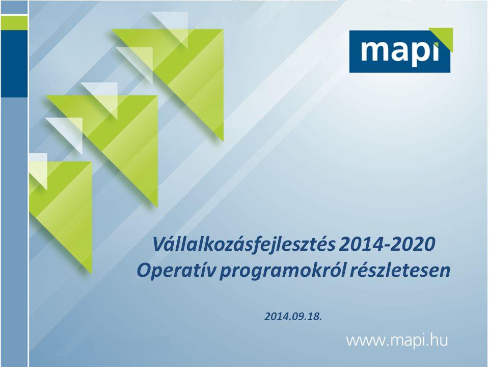 Vállalkozásfejlesztés 2014-2020 Operatív programokról részletesen 2014