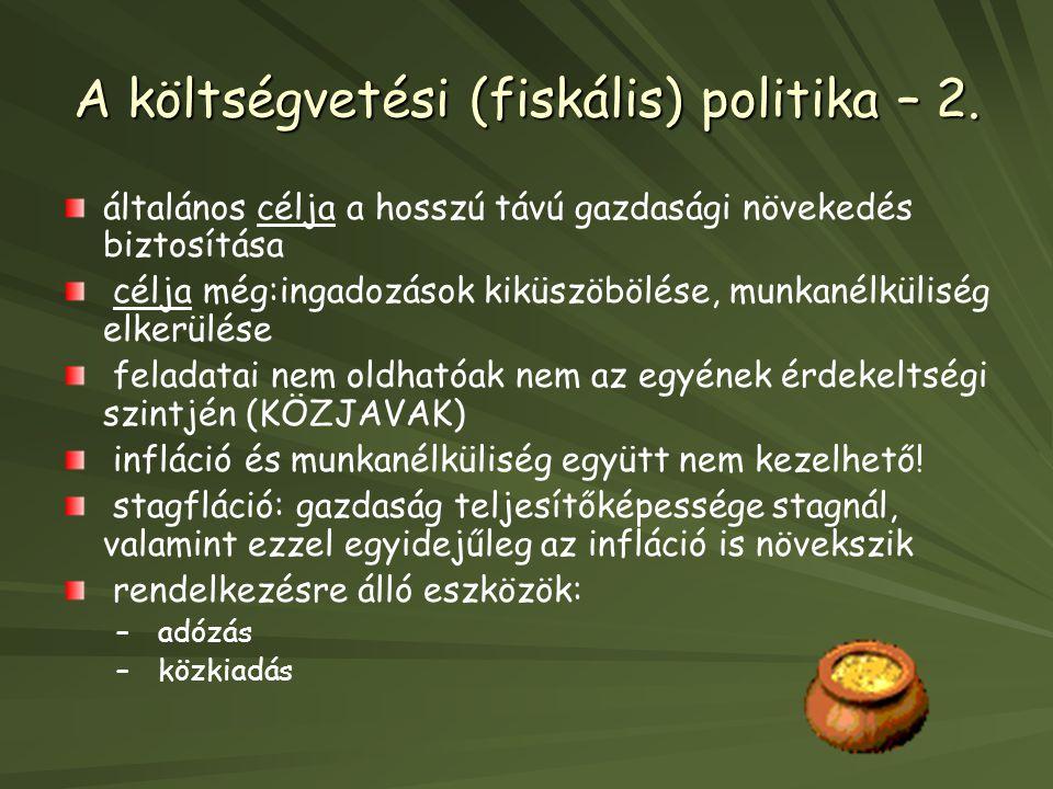 A költségvetési (fiskális) politika – 2.