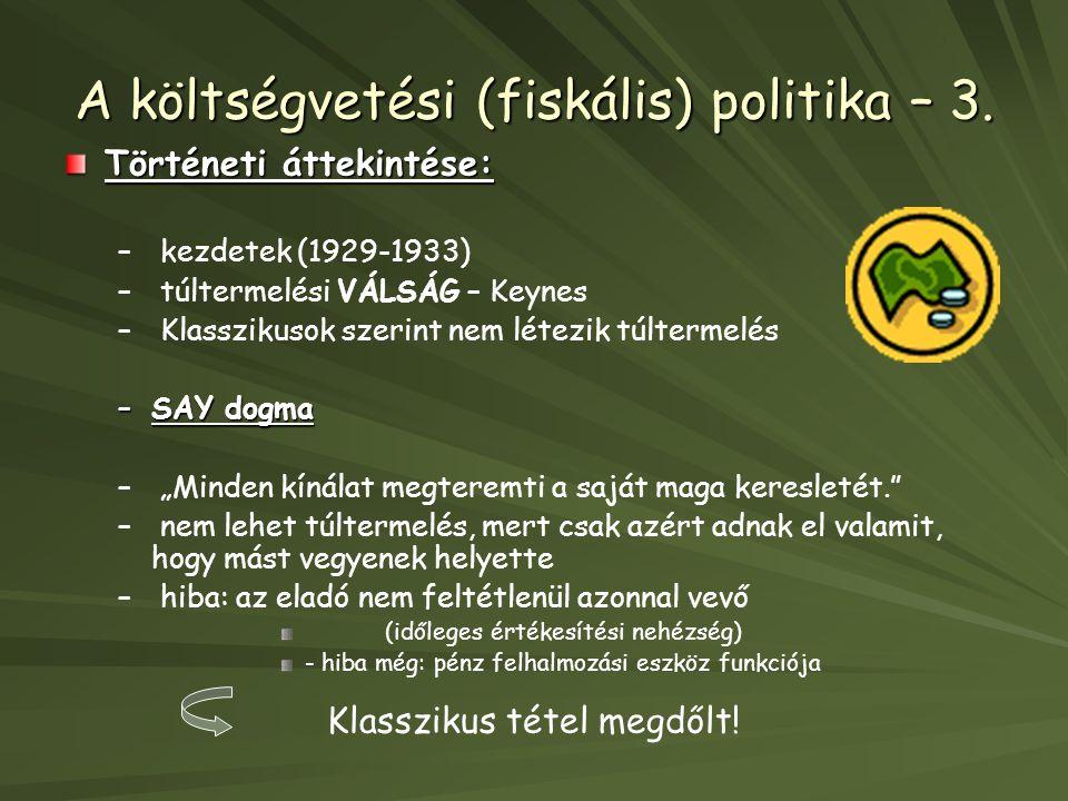 A költségvetési (fiskális) politika – 3.