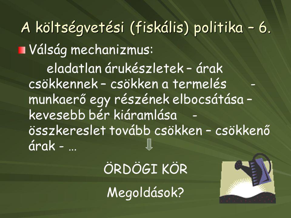 A költségvetési (fiskális) politika – 6.