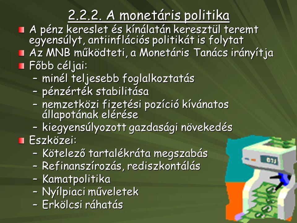 2.2.2. A monetáris politika A pénz kereslet és kínálatán keresztül teremt egyensúlyt, antiinflációs politikát is folytat.