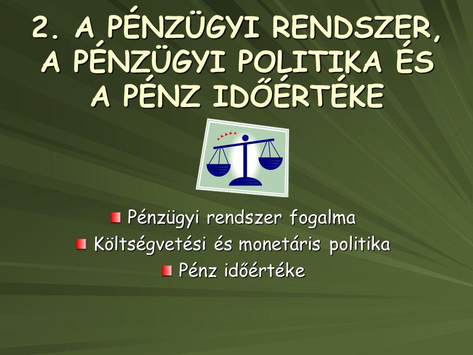 2. A PÉNZÜGYI RENDSZER, A PÉNZÜGYI POLITIKA ÉS A PÉNZ IDŐÉRTÉKE