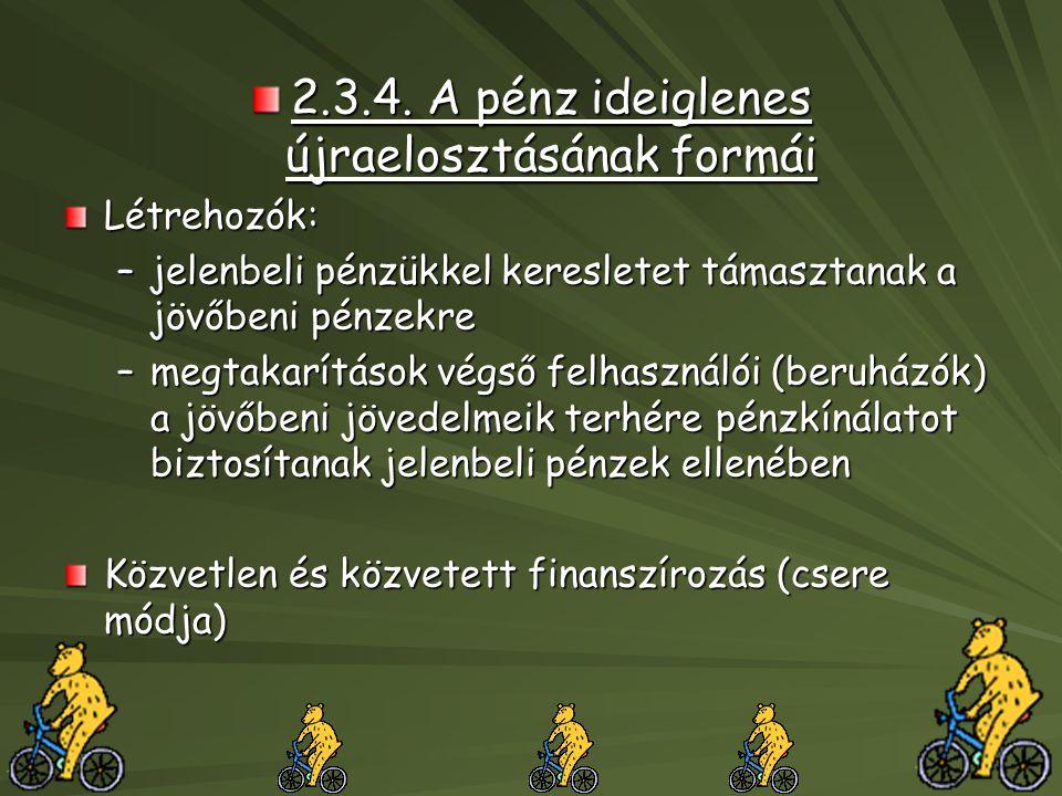 2.3.4. A pénz ideiglenes újraelosztásának formái