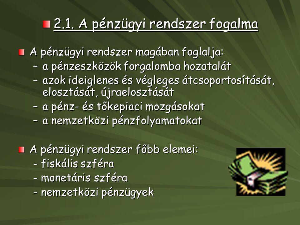 2.1. A pénzügyi rendszer fogalma