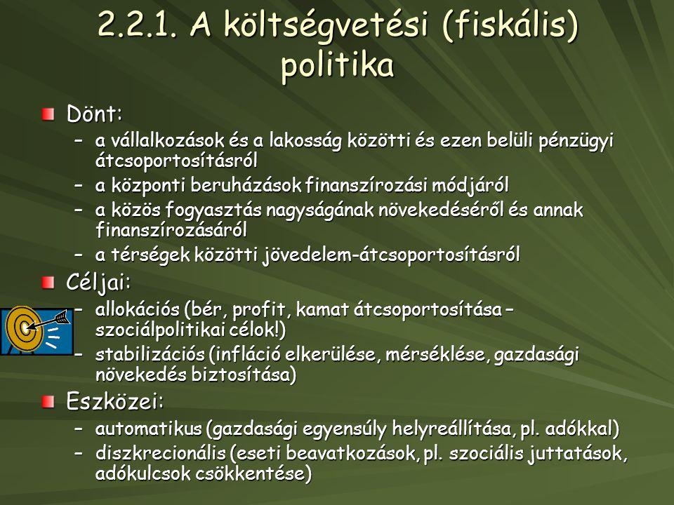 2.2.1. A költségvetési (fiskális) politika