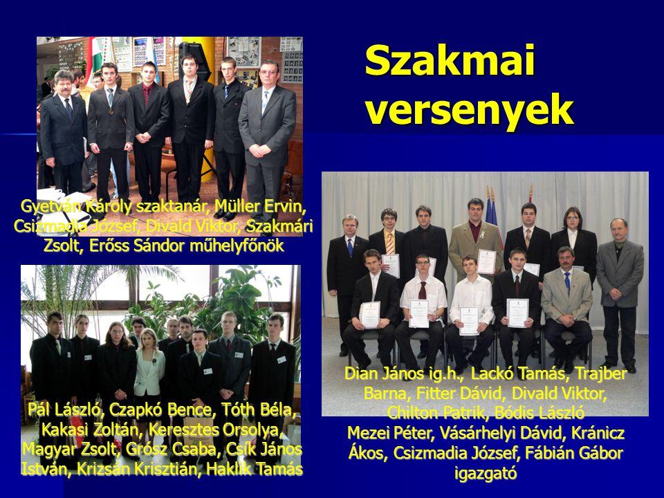 Szakmai versenyek Gyetván Károly szaktanár, Müller Ervin, Csizmadia József, Divald Viktor, Szakmári Zsolt, Erőss Sándor műhelyfőnök.