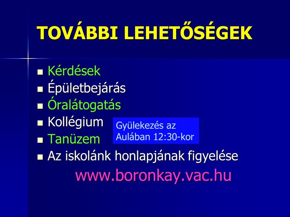 TOVÁBBI LEHETŐSÉGEK www.boronkay.vac.hu Kérdések Épületbejárás
