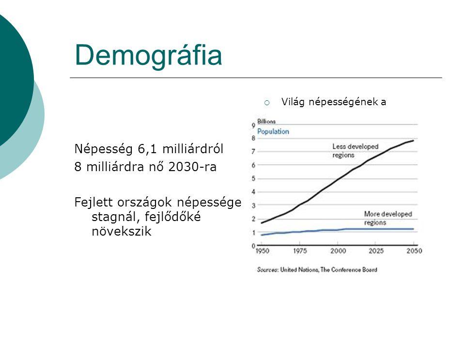 Demográfia Népesség 6,1 milliárdról 8 milliárdra nő 2030-ra
