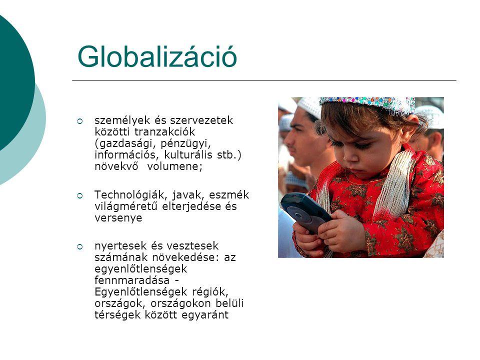 Globalizáció személyek és szervezetek közötti tranzakciók (gazdasági, pénzügyi, információs, kulturális stb.) növekvő volumene;