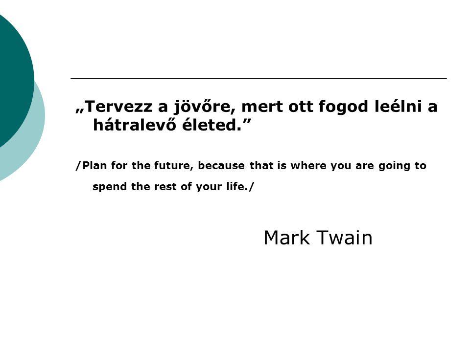 """""""Tervezz a jövőre, mert ott fogod leélni a hátralevő életed."""