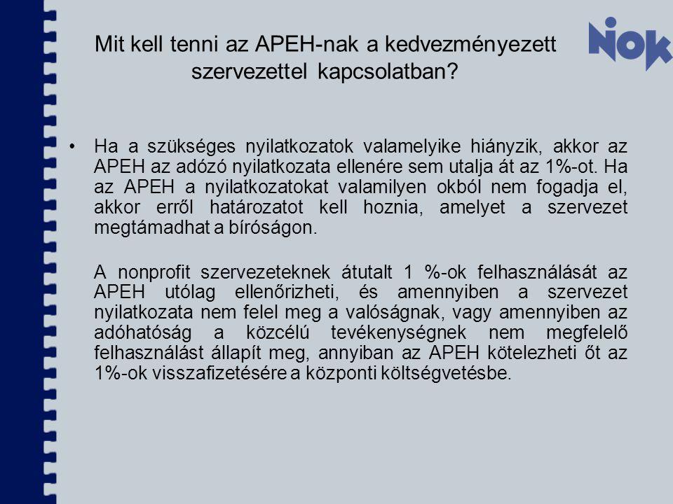 Mit kell tenni az APEH-nak a kedvezményezett szervezettel kapcsolatban