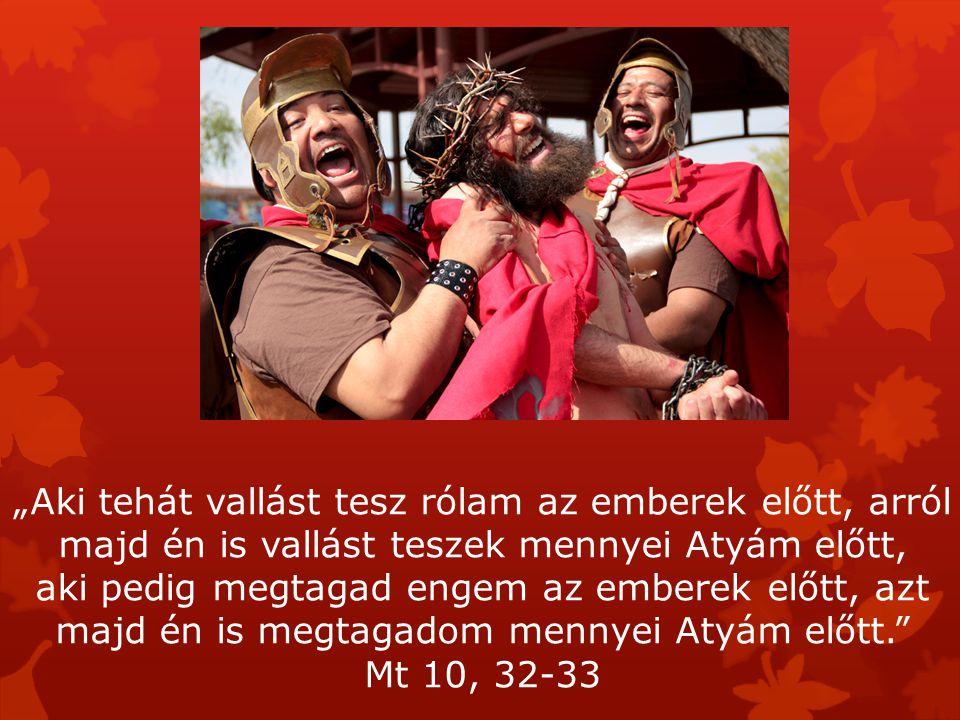 """""""Aki tehát vallást tesz rólam az emberek előtt, arról majd én is vallást teszek mennyei Atyám előtt,"""