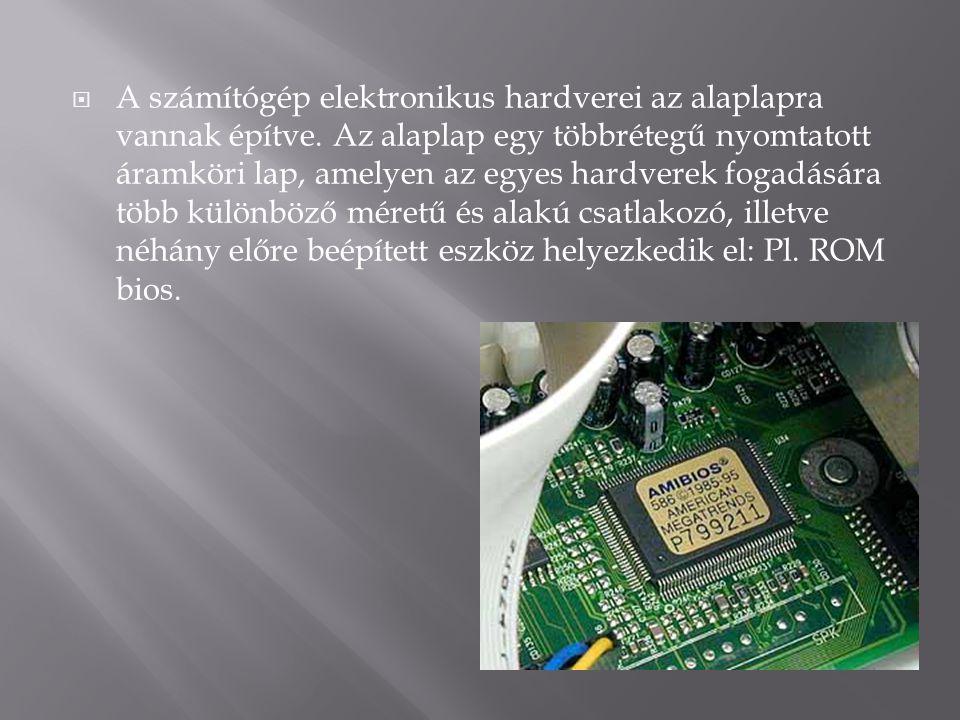 A számítógép elektronikus hardverei az alaplapra vannak építve
