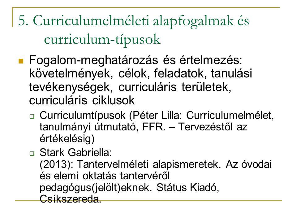 5. Curriculumelméleti alapfogalmak és curriculum-típusok