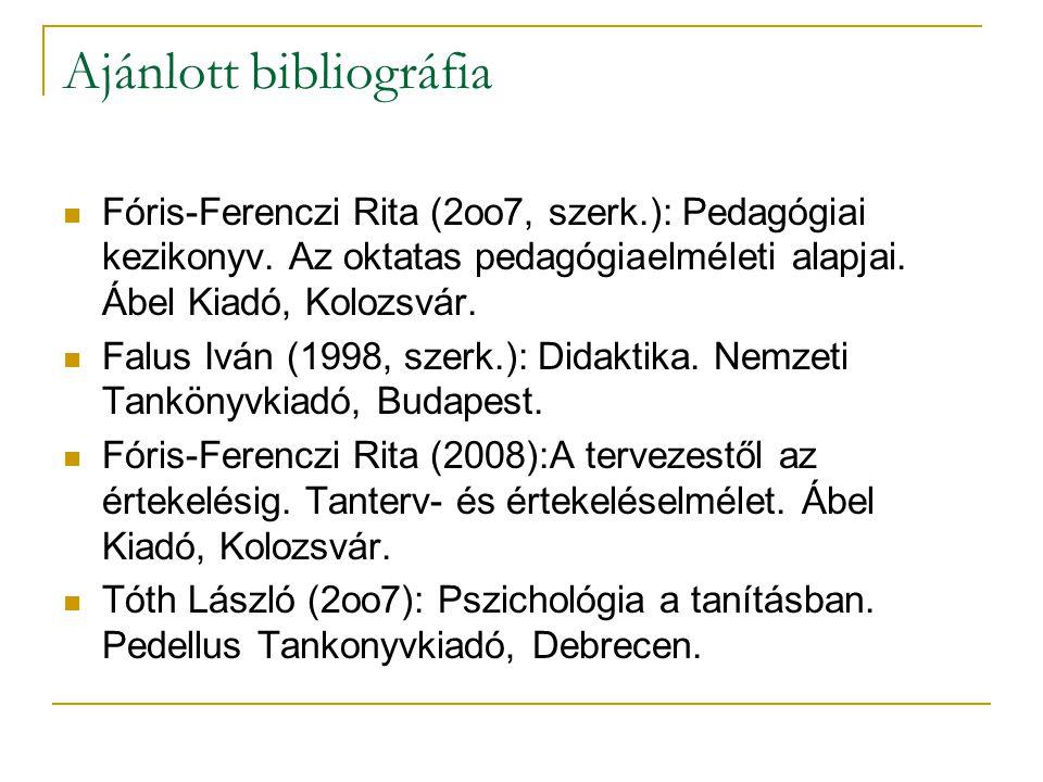 Ajánlott bibliográfia