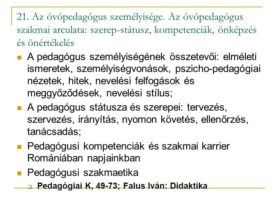 21. Az óvópedagógus személyisége