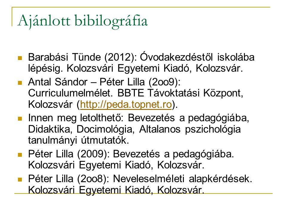 Ajánlott bibilográfia