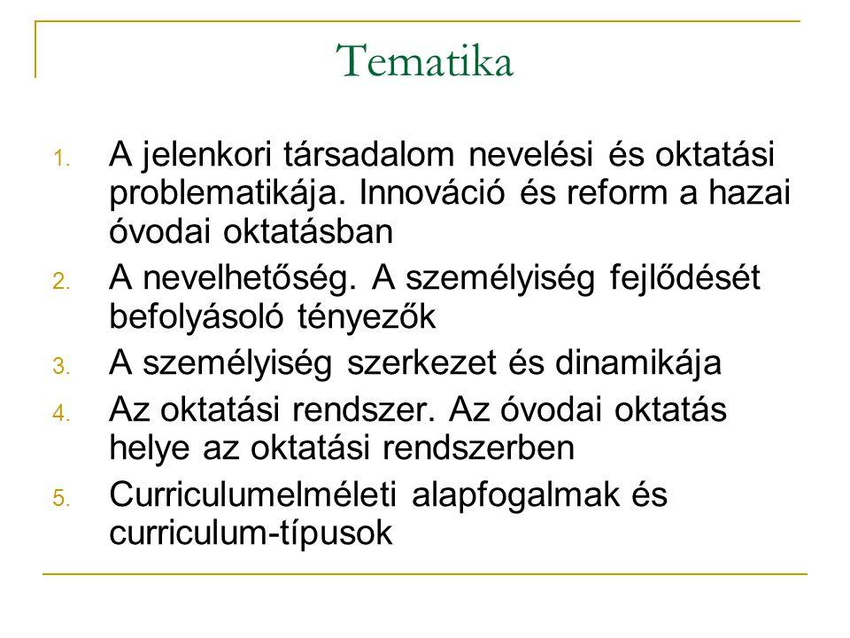 Tematika A jelenkori társadalom nevelési és oktatási problematikája. Innováció és reform a hazai óvodai oktatásban.