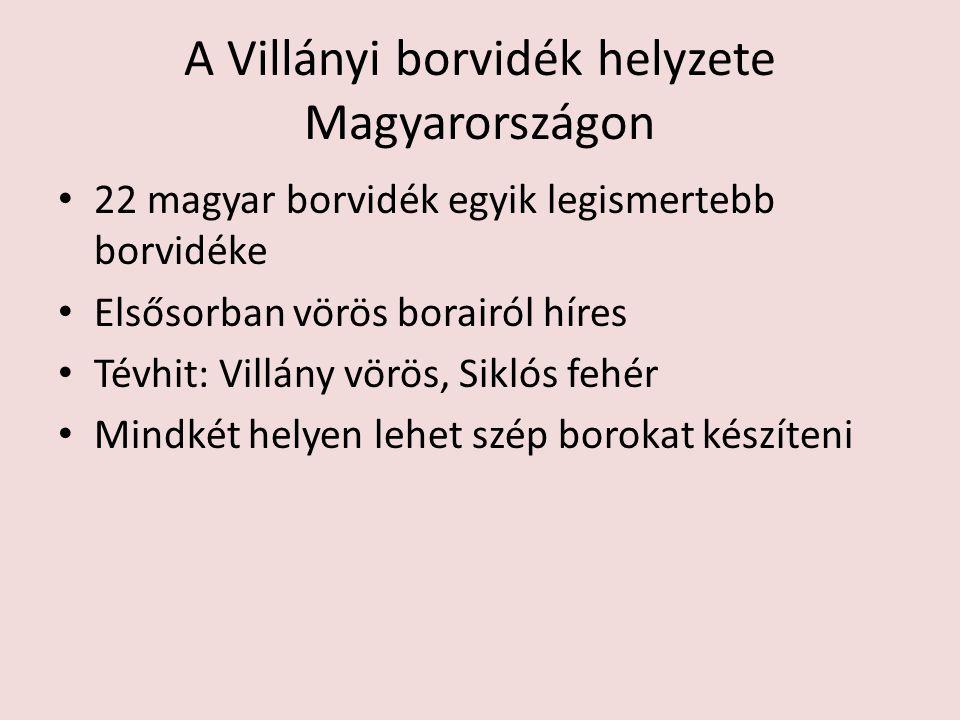 A Villányi borvidék helyzete Magyarországon