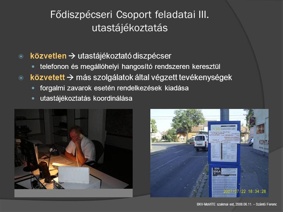 Fődiszpécseri Csoport feladatai III. utastájékoztatás