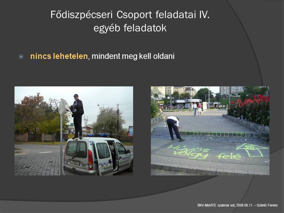 Fődiszpécseri Csoport feladatai IV. egyéb feladatok