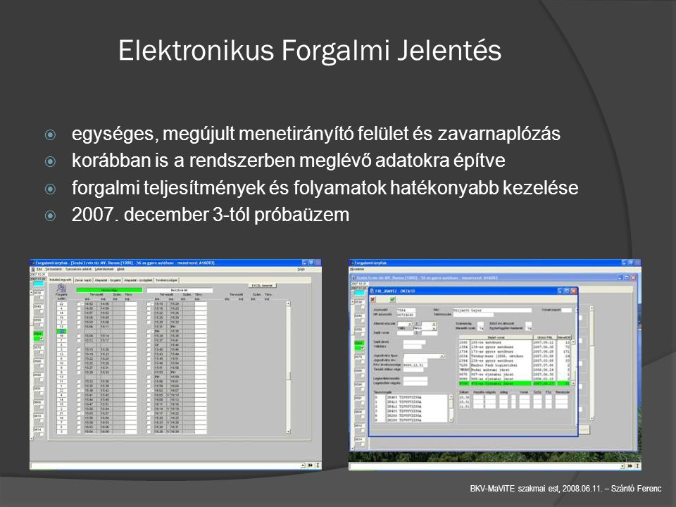 Elektronikus Forgalmi Jelentés