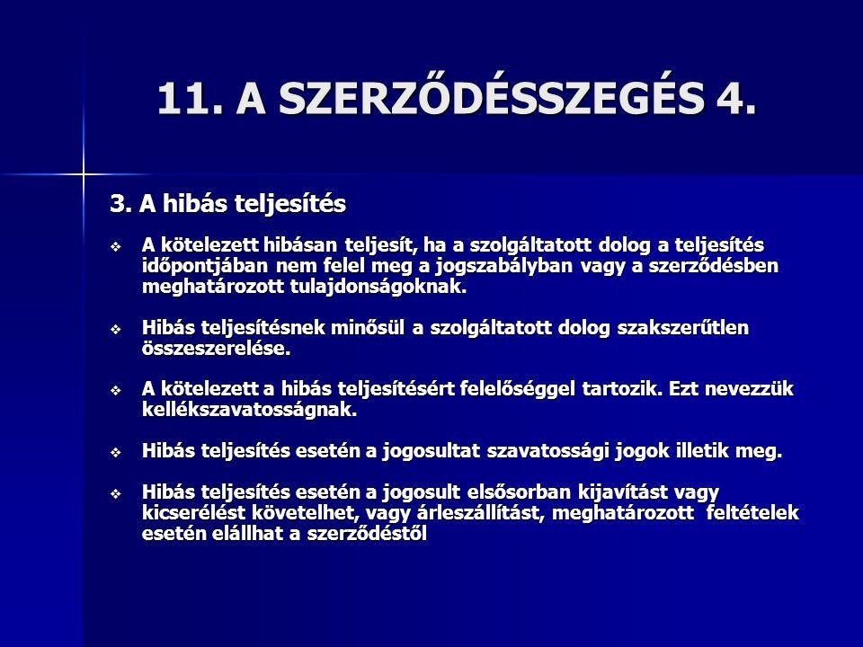 11. A SZERZŐDÉSSZEGÉS 4. 3. A hibás teljesítés