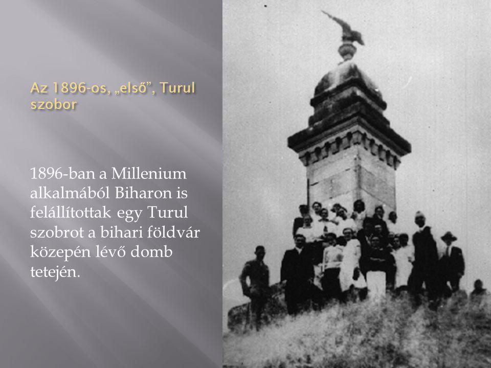 """Az 1896-os, """"első , Turul szobor"""