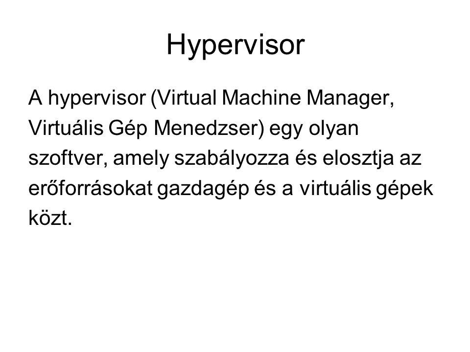 Hypervisor A hypervisor (Virtual Machine Manager,