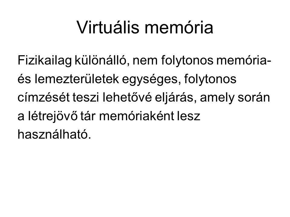 Virtuális memória Fizikailag különálló, nem folytonos memória-