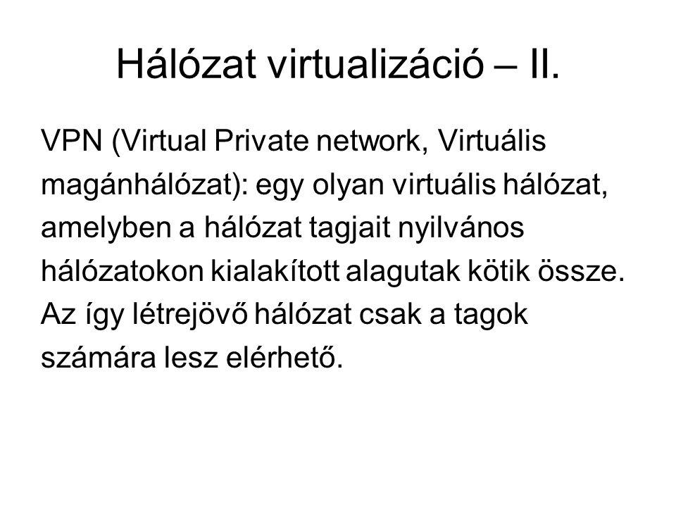 Hálózat virtualizáció – II.