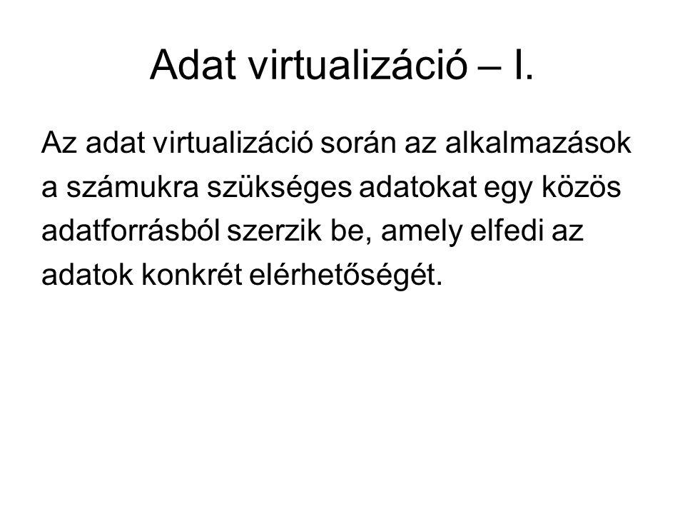 Adat virtualizáció – I. Az adat virtualizáció során az alkalmazások