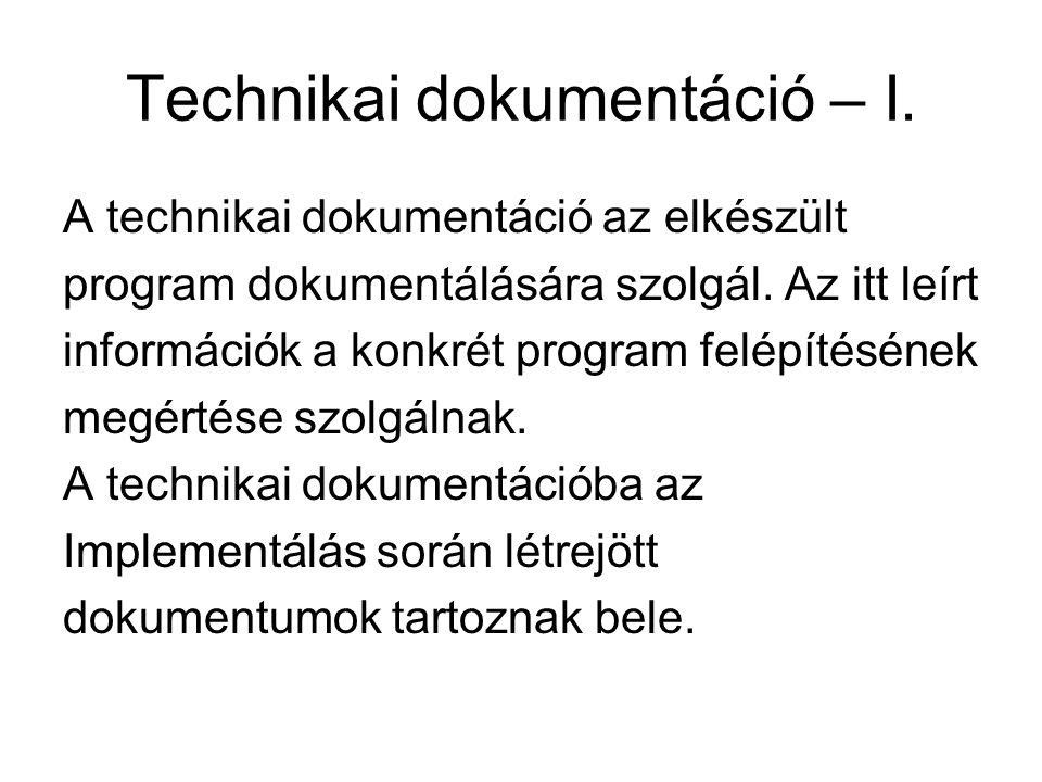 Technikai dokumentáció – I.