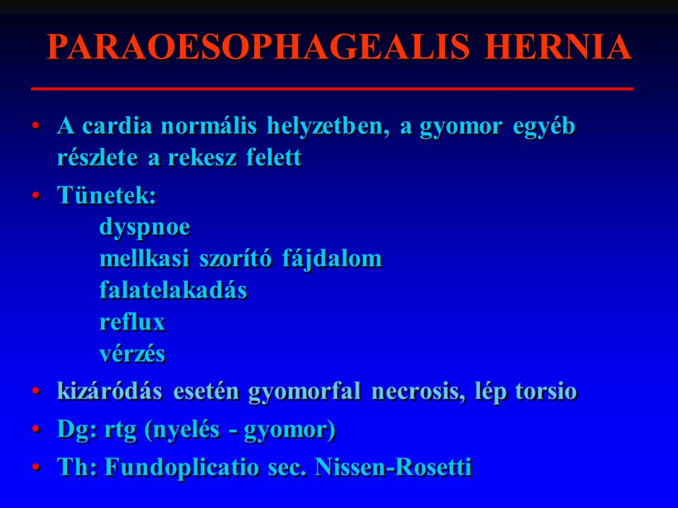 PARAOESOPHAGEALIS HERNIA