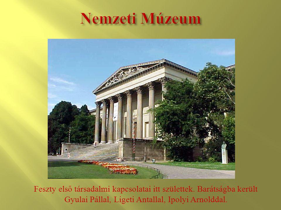 Nemzeti Múzeum Feszty első társadalmi kapcsolatai itt születtek.