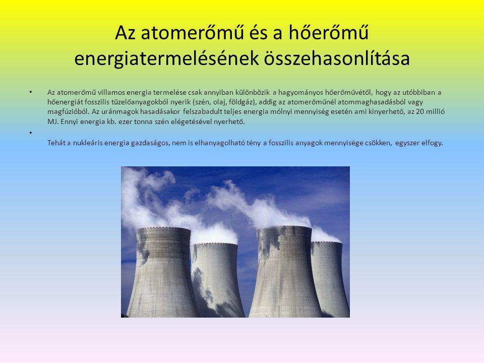 Az atomerőmű és a hőerőmű energiatermelésének összehasonlítása