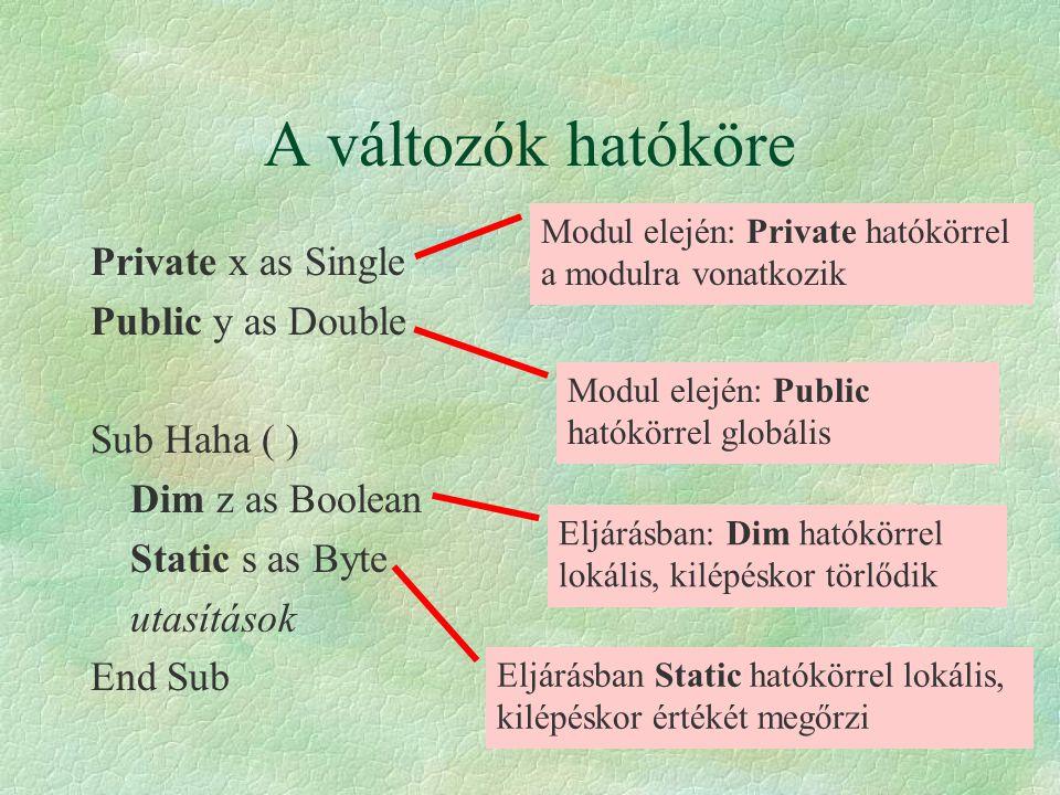 A változók hatóköre Private x as Single Public y as Double
