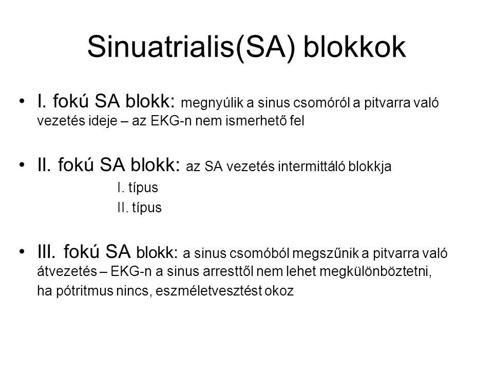 Sinuatrialis(SA) blokkok